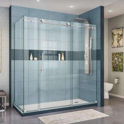 Enigma-X 32-1/2 in. D x 72-3/8 in. W x 76 in. H Frameless Sliding Shower Enclosure in Polished Stainless Steel