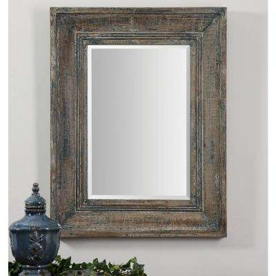 34 in. x 27 in. Blue/Green Rectangle Framed Mirror
