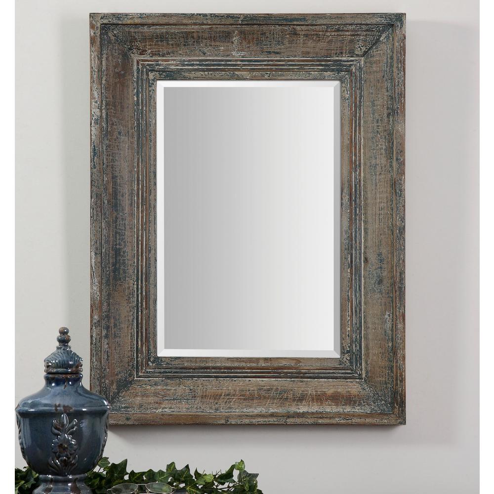 bluegreen rectangle framed mirror
