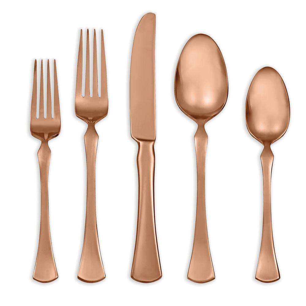 Refined Copper 20 Piece Flatware Set