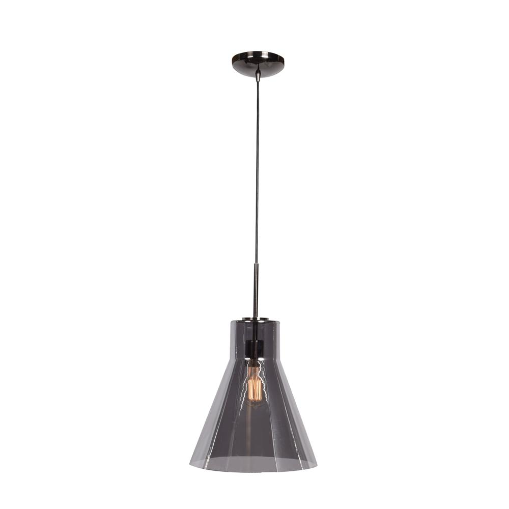 Access Lighting Simplicite 11 75 In 1 Light Black Chrome Beaker Pendant With Smoke Gl Shade
