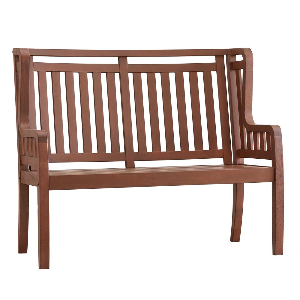 Verdon Gorge 45 in. Brown Wood Outdoor High Back Bench