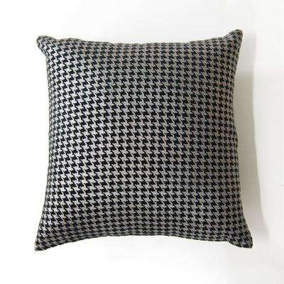 Black Small Metallic Houndstooth Velvet Pillow