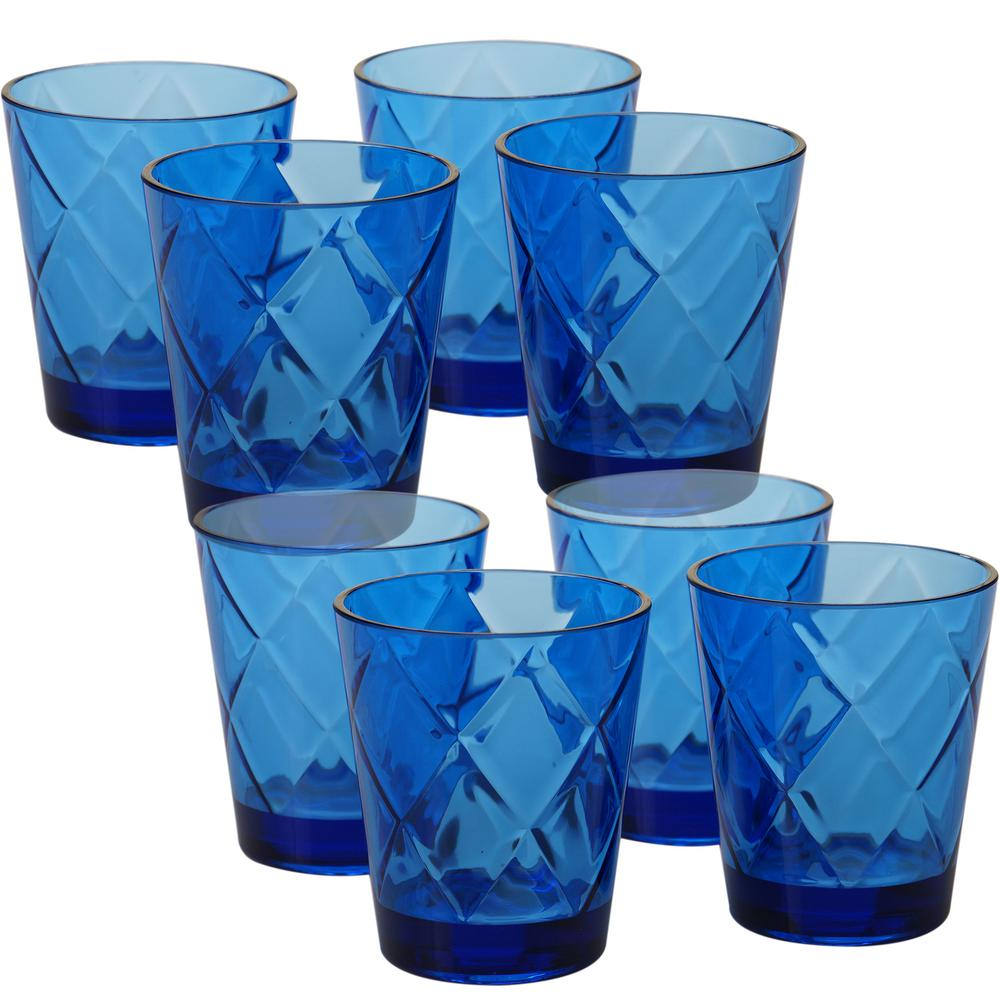 Certified International 15 oz. 8-Piece Cobalt Blue Old Fashion Glass These cobalt blue old fashion glasses with a diamond shaped pattern from Certified International will add a pop of color to your next gathering. Each glass measures 3.75 in. x 4.5 in. Made of heavy weight and durable acrylic, these glasses are perfect for indoor and outdoor use.
