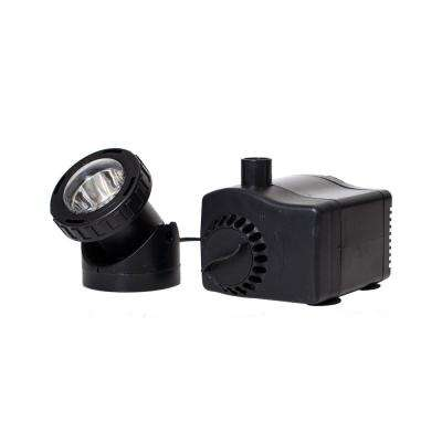 420 GPH Fountain Pump Plus Light with Low Water Auto Shut-Off Feature