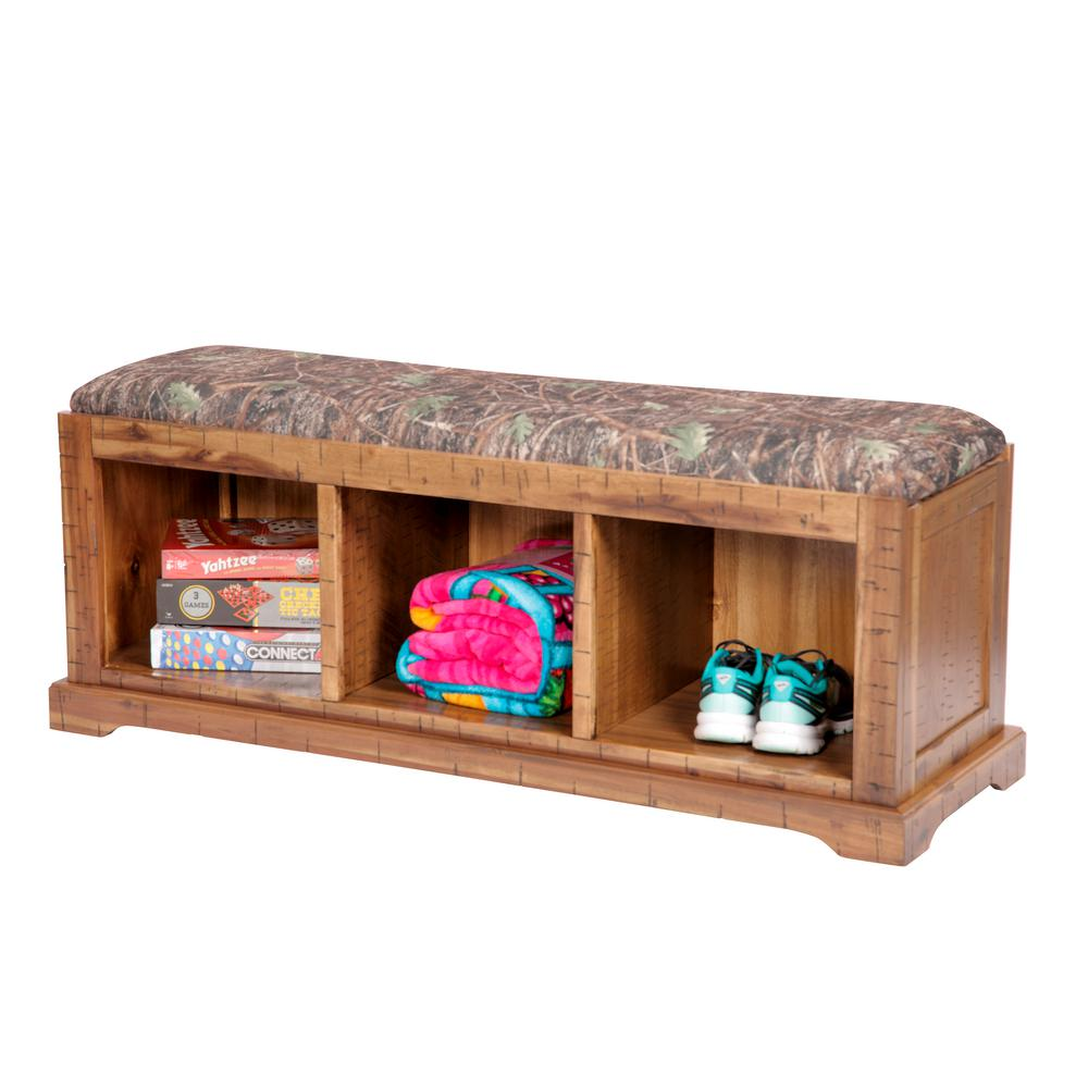Distressed Toffee Solid Wood Hall Bench with True Timber Camouflage Fabric