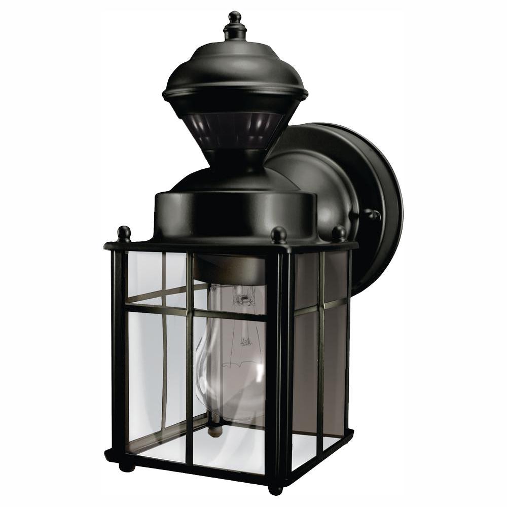 Bayside Mission 150° Black Motion-Sensing Outdoor Wall Lantern Sconce