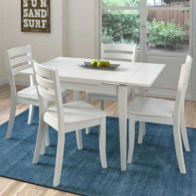 Dillon 5 Piece Extendable White Wooden Dining Set
