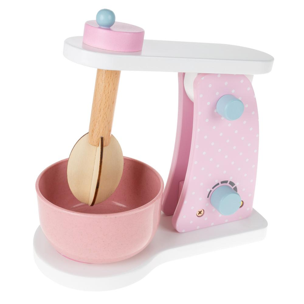 hey! play! wooden pretend play toy mixer with mixing bowl