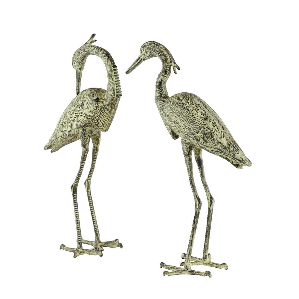"34"" and 36"" Inch Dark Metal and Yellow Crane Flamingo Garden Statues, Set of 2:"