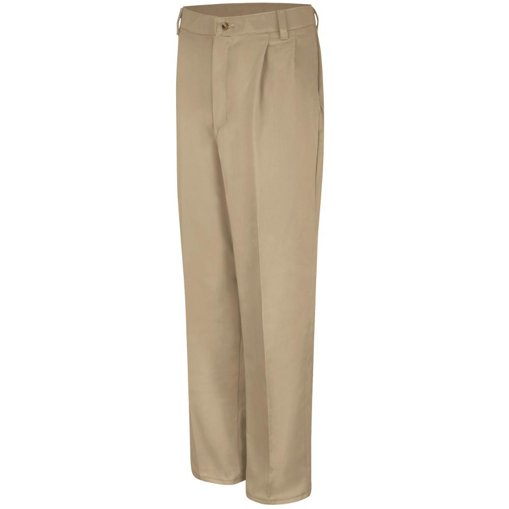 Red Kap Men S 42 In X 34 In Khaki Pleated Front Cotton Pant Pc46kh