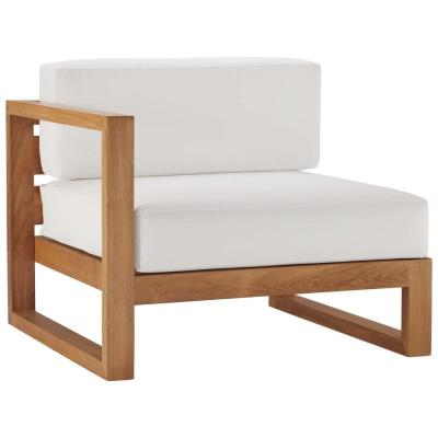 Upland Natural Teak Left-Arm Outdoor Lounge Chair with White Cushions
