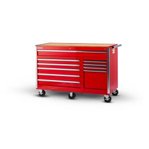 International Tech Series 56 inch 10-Drawer Roller Cabinet Tool Chest with Wood Top in Red by International
