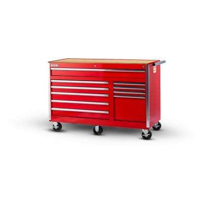 Tech Series 56 in. 10-Drawer Roller Cabinet Tool Chest with Wood Top in Red