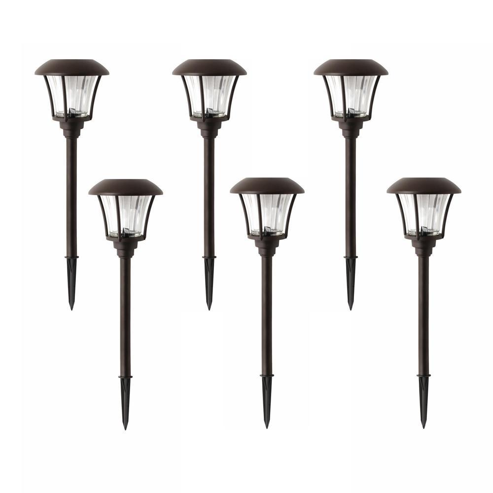 Bronze Solar Outdoor Integrated LED Landscape Path Light 10 Lumens (6-Pack)