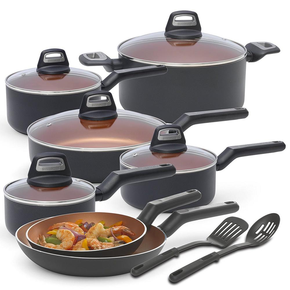 14-Piece Multi-Size Copper Durable Titanium Non-Stick Interior Cookware Set