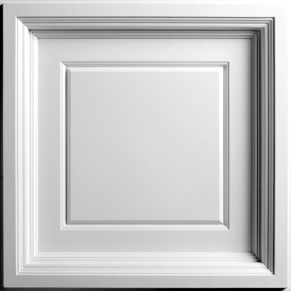Ceilume Madison White Evaluation Sample, Not suitable for installation - 2 ft. x 2 ft. Coffered Ceiling Panel