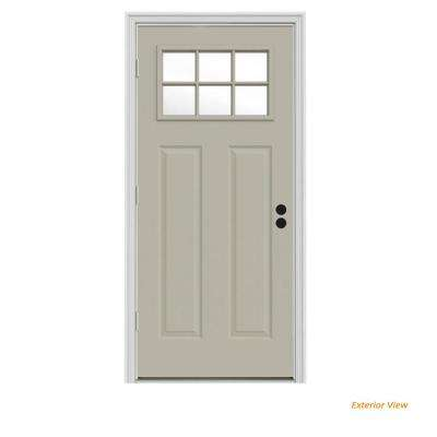 34 in. x 80 in. 6 Lite Craftsman Desert Sand Painted Steel Prehung Right-Hand Outswing Front Door w/Brickmould