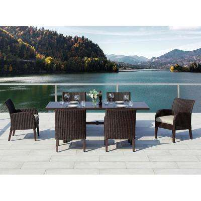 Majorca III Dark Brown 7-Piece Wicker Outdoor Dining Set with Olefin Cushion