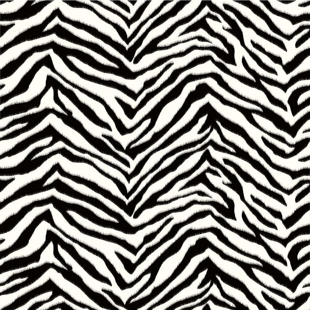 Mia Black Faux Zebra Stripes Wallpaper