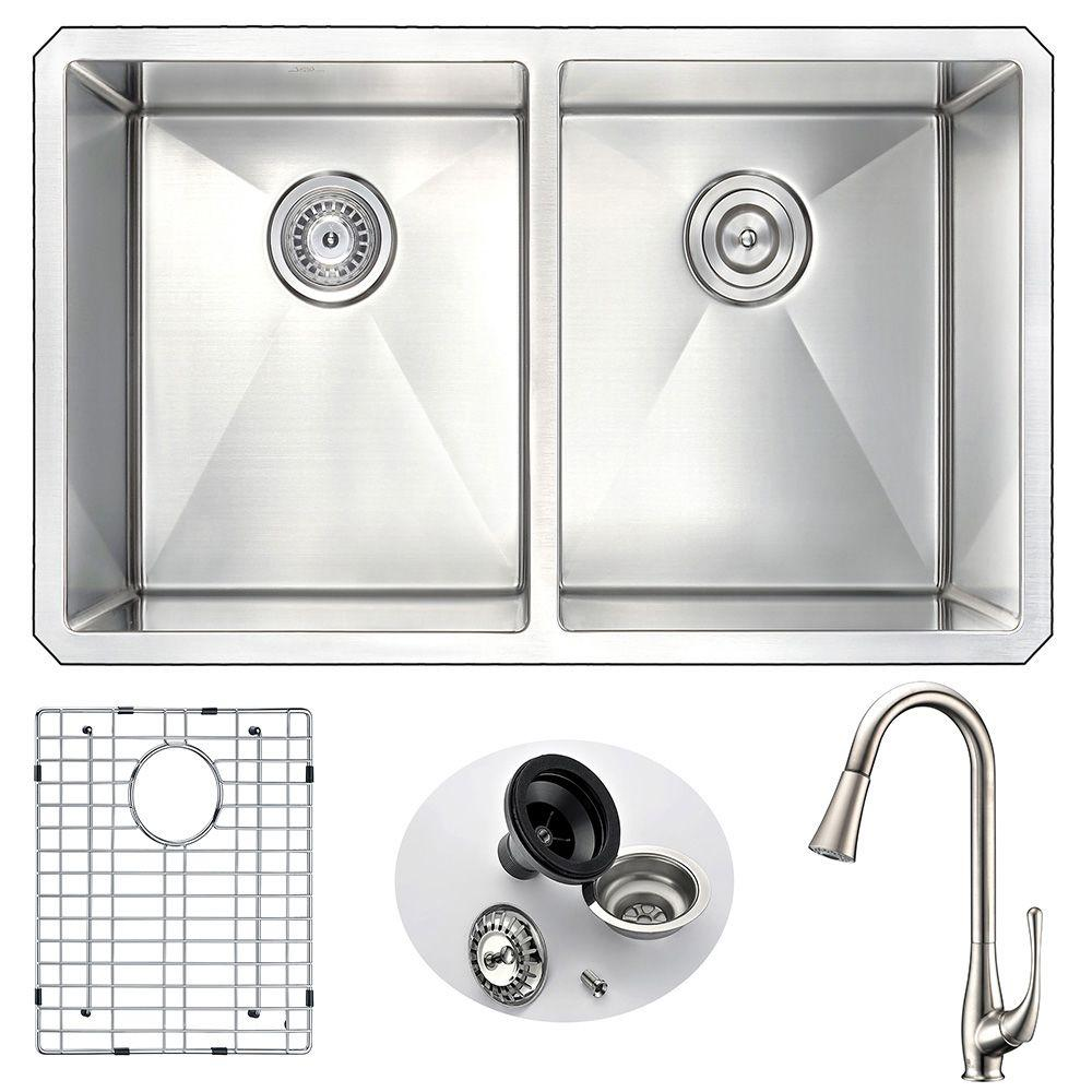 Genial ANZZI VANGUARD Undermount Stainless Steel 32 In. Double Bowl Kitchen Sink  And Faucet Set With