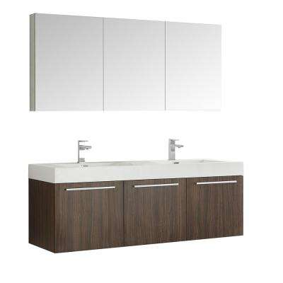 Vista 59 in. Vanity in Walnut with Acrylic Vanity Top in White with White Basins and Mirrored Medicine Cabinet