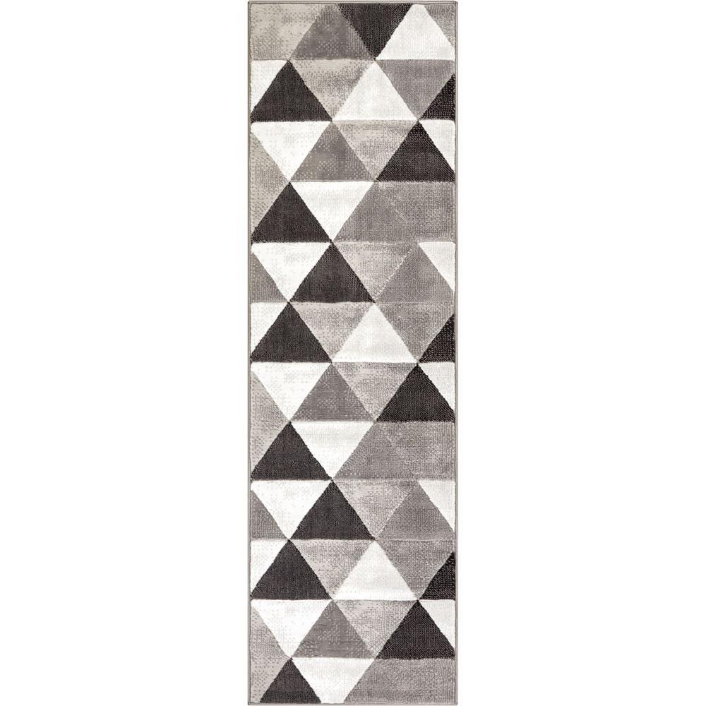 Dulcet Retro Shapes 2 ft. x 7 ft. Mid-Century Modern Geometric Grey Runner Rug