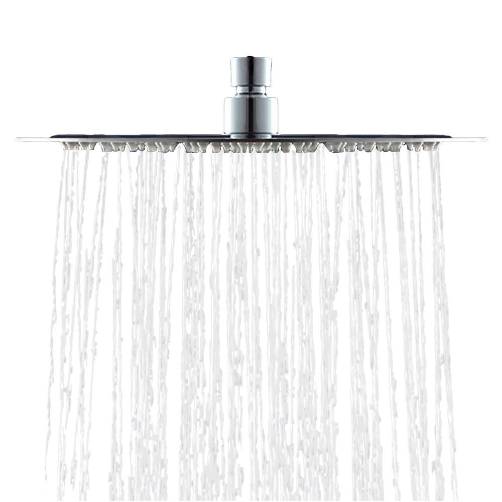 1-Spray 7.9 in. Single Wall Mount Body spray Fixed Rain Shower Head in Chrome