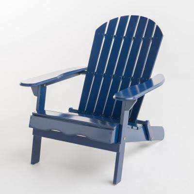 Hanlee Navy Blue Folding Wood Adirondack Chair