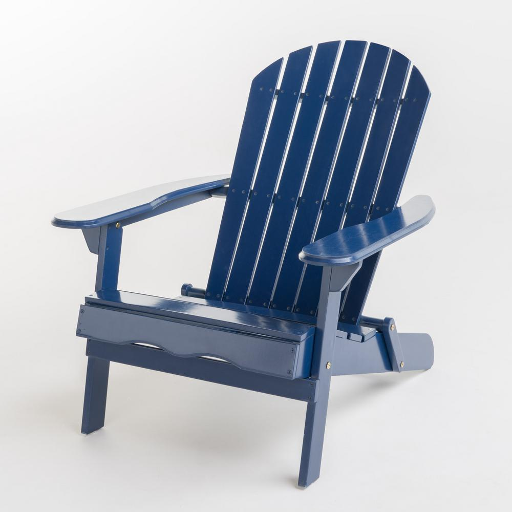 Noble House Hanlee Navy Blue Folding Wood Adirondack Chair