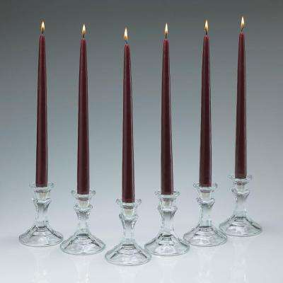 12 in. Tall 3/4 in. Thick Elegant Burgundy Unscented Taper Candles (Set of 12)