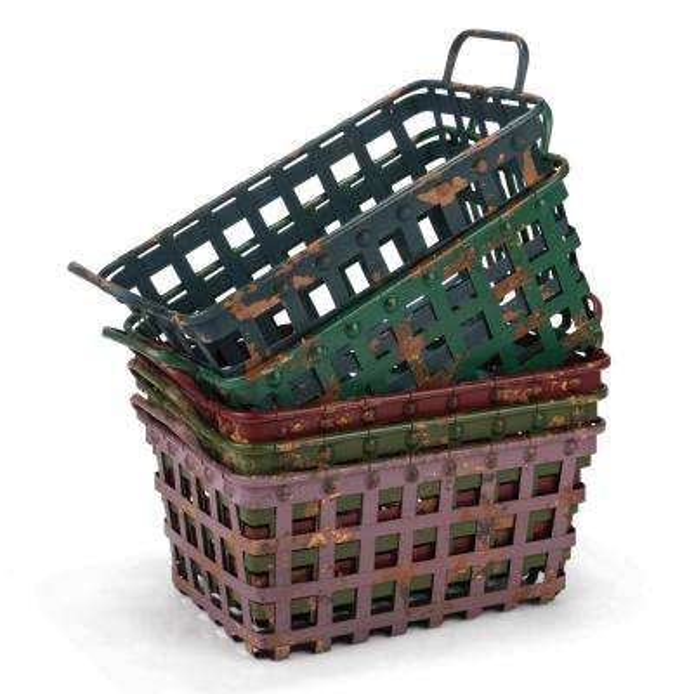 Rectangle Distressed Metal Baskets (Set of 5)