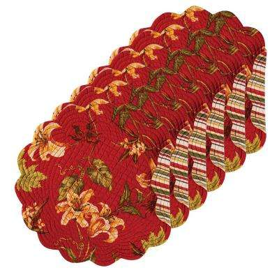 Lily Garden Round Red Placemat (Set of 6)