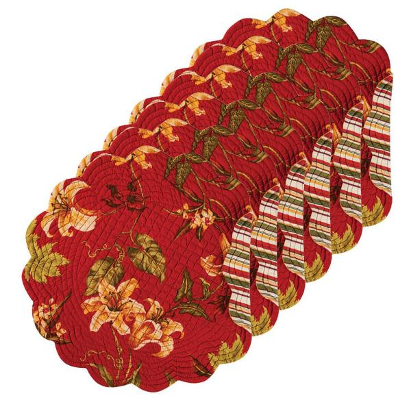 C & F Home Lily Garden Round Red Placemat (Set of 6)