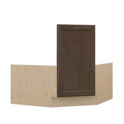 Shaker Ready to Assemble 36 x 34.5 x 24 in. Corner Sink Base Kitchen Cabinet in Brindle