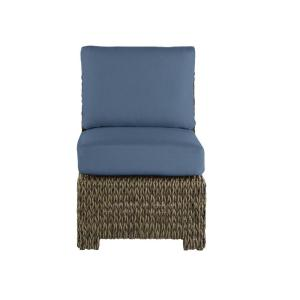 Laguna Point Brown Wicker Armless Middle Outdoor Patio Sectional Chair with CushionGuard Sky Blue Cushions