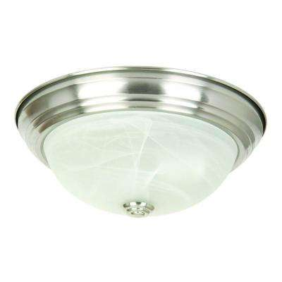 3-Light Satin Nickel Flush Mount with White Marble Glass Shade