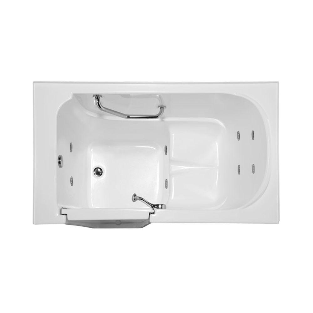 Hydro Systems Lifestyle 4.3 ft. Reversible Drain Walk-In Whirlpool Tub in White