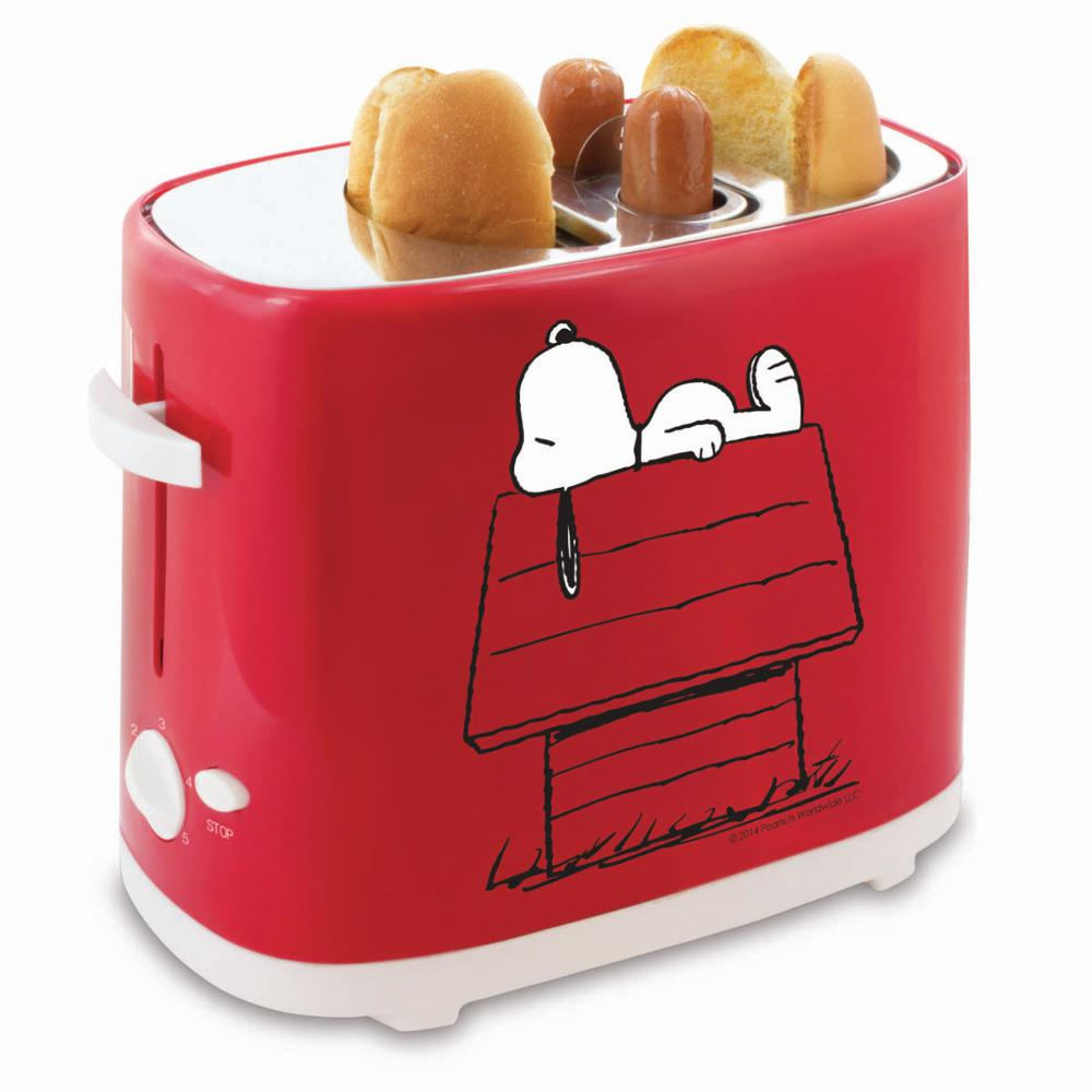 Snoopy 2-Bun Hot Dog and Bun Toaster, Red A fun way to make lunch at home. Perfectly toast 2 hot dogs and 2 buns in just a few minutes. Easy to use and clean. Color: Red.
