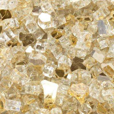 1/2 in. 10 lbs. Sunstorm Gold Reflective Tempered Fire Glass in Jar