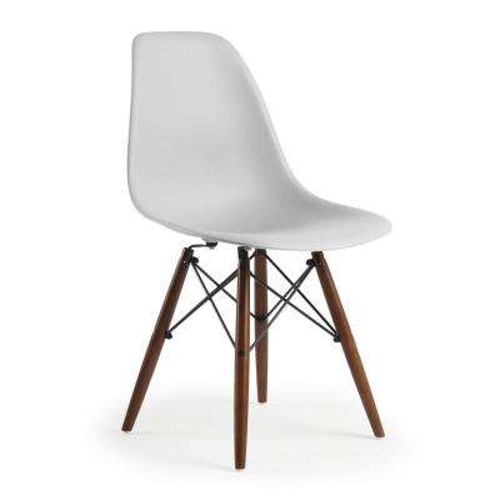 Vortex Side Chair Walnut Legs in Harbor Grey