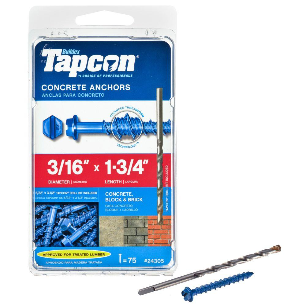 Tapcon 3/16 in. x 1-3/4 in. Hex-Washer-Head Concrete Anchors (75-Pack)