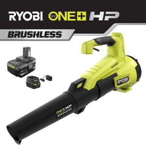 110 MPH 350 CFM ONE+ HP 18-Volt Brushless Lithium-Ion Cordless Jet-Fan Leaf Blower - 4.0 Ah Battery and Charger