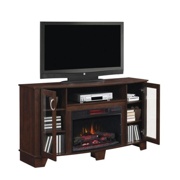 Media Console Electric Fireplace, Dark Cherry Wood Fireplace Tv Stand