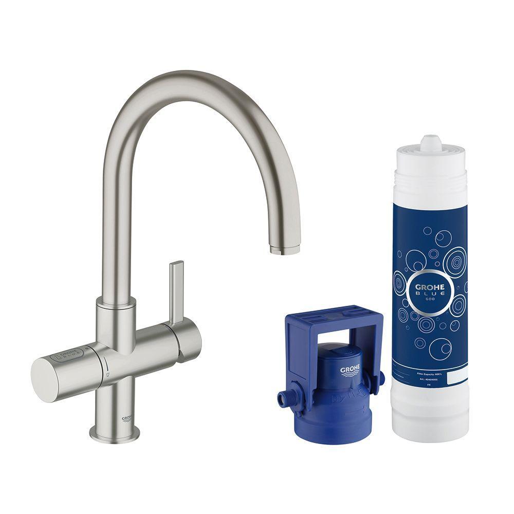Blue Pure 2-Handle Standard Kitchen Faucet in SuperSteel Infinity