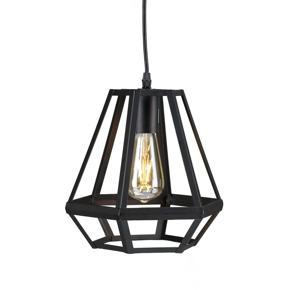 Harriet 1 light matte black caged lantern pendant lamp