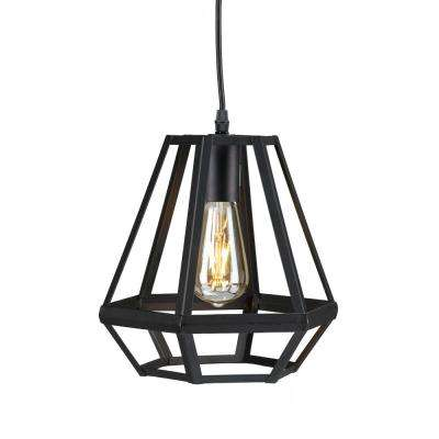 Black rustic cage pendant lights lighting the home depot harriet 1 light matte black caged lantern pendant lamp aloadofball