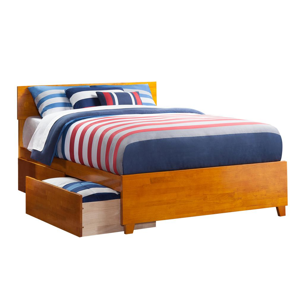 Atlantic Furniture Orlando Caramel Queen Platform Bed With Matching Foot  Board With 2 Urban Bed