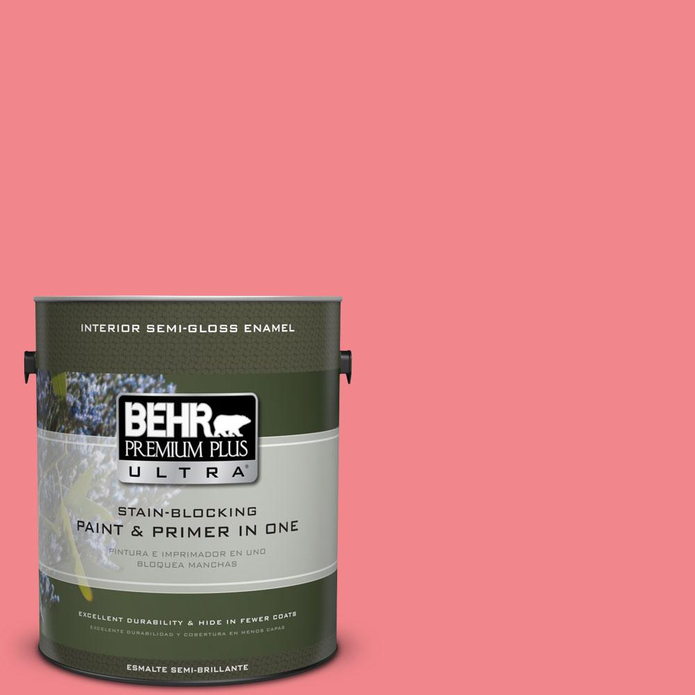 1-gal. #140B-5 Flamingo Dream Semi-Gloss Enamel Interior Paint
