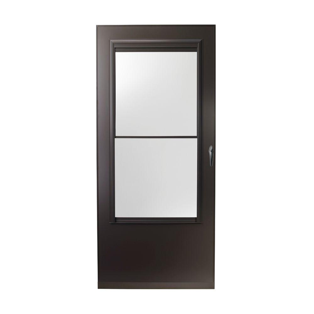 Emco 32 in x 80 in 200 series bronze self storing storm for 32x80 storm door